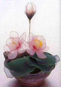 sheer nylon waterlilies lotus