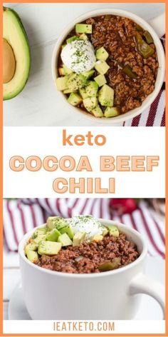 Delicious and satifying keto chili. Low-carb and gluten-free dinner idea you can enjoy. A perfect keto dinner meal. #ieatketo Ground Beef Keto Recipes, Beef Recipes, Soup Recipes, Healthy Recipes, Dinner Meal, Keto Dinner, Low Carb Chili Recipe, Low Carb Dinner Recipes, Keto Soup
