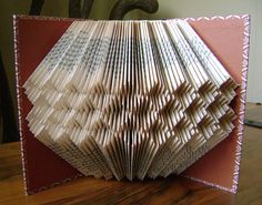 Folded book art,, honeycomb, upcycled book art, folded book sculpture