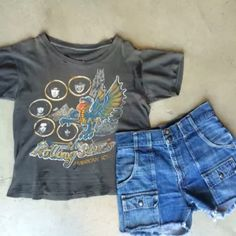 "Shake it in this Rolling Stones '78 Tour tee, (20"" pit to pit 21"" collar to hem), $195+$8 domestic shipping. Paired with 70's Levi's cutoffs, (30"" waist 14"" long), $68+$8 shipping. Call the shop at 415-796-2398 to purchase by phone or send PayPal payment to afterlifeboutique@gmail.com and reference item in post."