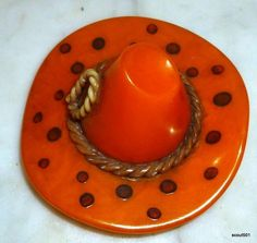 1930s Bakelite Celluloid Sombrero Cowboy Hat Rope Polka Dot Brooch