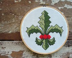 Holly Fleur de Lis Christmas Cross Stitch Pattern $3.95