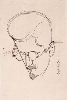 Drawing of James Joyce by Wyndham Lewis, 1920. NLI Ref: PD JOYC-JA (1) II Camden Group, Wyndham Lewis, Finnegans Wake, New Objectivity, Wedding Letters, American Independence, James Joyce, Virtual Art, Social Realism