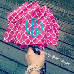 a rainy day calls for a bright monogrammed umbrella