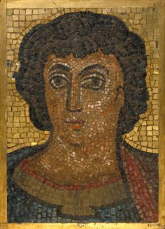 Mosaic panel Ravenna, Italy About 545 Glass and gold mosaic set in plaster Width 38 cm x height 53.5 cm Museum no. 4312-1856