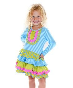 Another great find on #zulily! Blue & Lime Weekend Floral Chloe Dress - Toddler & Girls #zulilyfinds