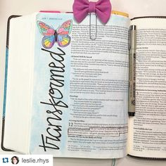 "A great visual for ""transformed"" including the adorable clip which looks like a butterfly in flight!  Such a great verse to journal @leslie.rhys !  #craftedword #Biblejournalingcommunity #repostedwithpermission #Repost @leslie.rhys with @repostapp.  And do not be conformed to this world but be transformed by the renewing of your mind so that you may prove what the will of God is that which is good and acceptable and perfect. Romans 12:2 #biblejournaling #ipaintinmybible by craftedword"