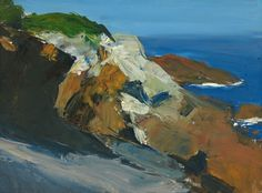 Edward Hopper (American, Sea and Rocky Shore, Whitney Museum of American Art, New York. Oil on canvas board, 9 × 13 × 33 cm. © Heirs of Josephine N. Hopper/Whitney Museum of American Art. American Realism, American Artists, Manet, Toulouse, Landscape Art, Landscape Paintings, Edward Hopper Paintings, Monhegan Island, Impressionism