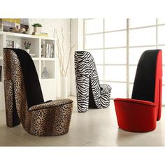 High Heel Shoe Fabric Chair (Zebra High Heel Shoe Chair), Black