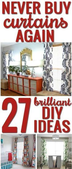 Creative ideas to make your own curtains AND curtain rods! SO many inspiring ideas! Never buy curtains again: 27 inspiring DIY curtains you can make yourself Diy Projects To Try, Home Projects, No Sew Curtains, Green Curtains, Curtains Living, Blackout Curtains, Short Curtains, Yellow Curtains, Window Curtains