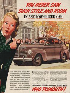 1940 Plymouth car print ad Four Door Sedan in brown by Vividiom, $9.00