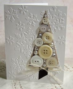 Button Tree card for New Year's Christmas Card Crafts, Christmas Cards To Make, Noel Christmas, Xmas Cards, All Things Christmas, Handmade Christmas, Holiday Cards, Christmas Buttons, Origami