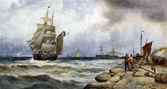 Thomas Bush Hardy Fishing vessels and a steamer with stone quay and people, 1895 Width: in (Width: cm) Watercolour Hardy Fishing, Fishing Vessel, Royal Society, His Travel, Steamer, Continents, Watercolour, Holland, Art Gallery