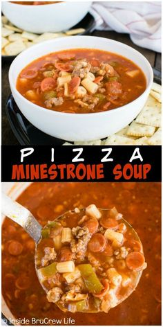 Pizza Minestrone Soup - a one pot soup recipe full of veggies, pasta, and pizza toppings. Great comfort food dinner for cold winter days!