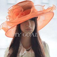 Lady Women Church Derby Hat Wide Brim Cap Wedding Dress Tea Party Floral Bridal #Unbranded #WideBrim