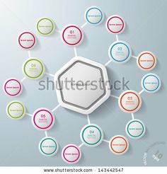 Infographic with big hexagon and colorful rings. Eps 10 vector file. - stock vector