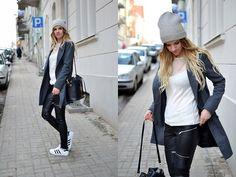 H&M Mesh Top, Zara Leather Pants, Choies Coat, Adidas Superstars