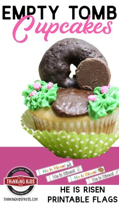 Empty Tomb Cupcakes with He is Risen Printable Flags Looking for Easter cupcakes for kids? Try these easy empty tomb cupcakes. And grab the He is Risen printable flags to top them off! Easter Cupcakes, Fondant Cupcakes, Fun Cupcakes, Easter Desserts, Wedding Cupcakes, Jesus Is Risen, He Is Risen, Cupcake Recipes From Scratch, Empty Tomb