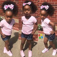 Black Baby Girls, Cute Black Babies, Beautiful Black Babies, Cute Baby Girl, Cute Babies, Black Kids Fashion, Cute Kids Fashion, Little Girl Fashion, Cute Little Girls Outfits
