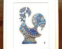 Coq bleu et or - impression encre
