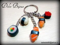fimo sushi - Don't like the Sushi much but it's a great idea - could use other charms!