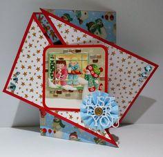 Twist Fold Card made using the wonderful Dear Santa range. Christmas Cards To Make, Christmas Crafts, Dear Santa, I Card, Gate, Card Making, Paper Crafts, Shapes, Projects