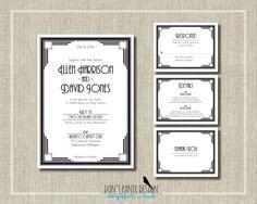 Printable Wedding Invitation Set Modern Art Deco Wedding - Simple Vintage 1920's Black and White  - Wedding, anniversary