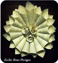 paper cone wreath with center paper rosettes