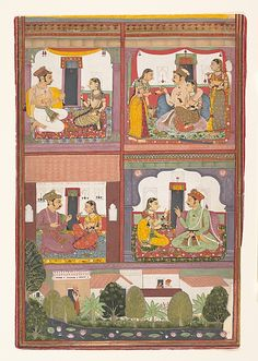 Four Love Scenes and a Landscape: Page from a Dispersed Raskapriya; c. 1700; Bundi #MetMuseum