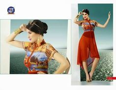 Beautifully designed indo-western Georgette Kurti digitally Printed Brown colored. Available in sizes from S to XL