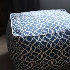 make a pouf like the ones seen on west elm.  make with water resistant fabrics for outdoor seating.