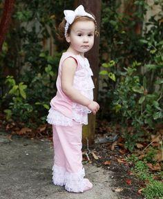 RuffleButts Lace Pink Ruffle Pants #RuffleButts
