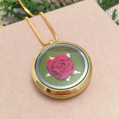 How perfect would this necklace be as a Christmas gift? Silk ribbon red rose necklace. Hand embroidery gifts for her jewelry under 50