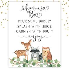 Mom-osa Bar Sign, Mimosa Bar Sign, Momosa Bar Sign Printable, Woodland Baby Show… - Baby Shower Decor Baby Shower Gift Bags, Baby Shower Signs, Baby Shower Fall, Baby Shower Themes, Baby Boy Shower, Baby Shower Decorations, Bar Decorations, Shower Ideas, Fall Baby