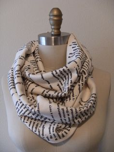 Scarves printed with writing from some of the classics. This would make a great gift for lots of people!