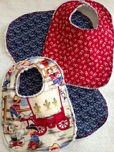 Baby Boy Bibs and Burp Cloth Set~Cotton and Chenille~Michael Miller Lil Cowpokes~Western~Cowboys~Red~Navy~Bandana~Horseshoes