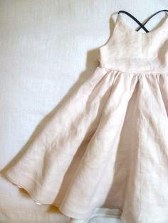 Blush Linen Dress with Cross Back Straps by HarrietsHaberdashery on etsy