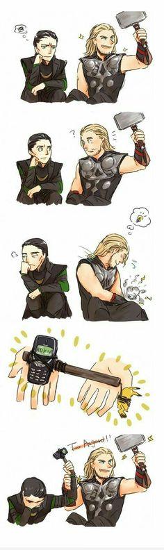 "Thor and Loki with Mjolnir and Nokia. Loki is like ""Thor, really? Avengers Humor, The Avengers, Marvel Jokes, Ms Marvel, Funny Marvel Memes, Marvel Dc Comics, Funny Memes, Funny Comics, Loki Funny"