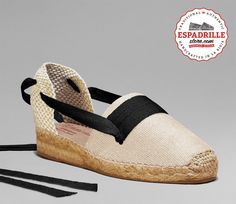Ivory Low Heel Espadrilles with Black Laces | Shoes from Spain | Handmade in Spain