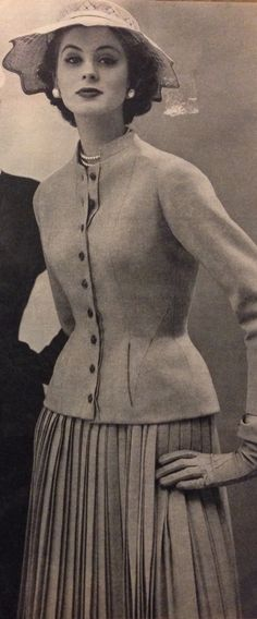 Christian Dior- 1952 Hazelnut brown wool button down jacket & pleated skirt suit. Elle- Les Collections Printemps 1952- No.327- March 3, 1952.