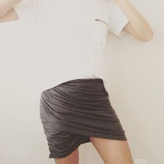 T-shirt to Ruched Skirt Refashion: Trash To Couture