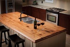 Kitchen : Wood Laminate Countertops For Modern Kitchen Design Counter Top' Ikea Butcher Block' Butcher Block along with Kitchens Reclaimed Wood Kitchen, Wooden Kitchen, New Kitchen, Cheap Kitchen, Kitchen Ideas, Wooden Countertops, Outdoor Kitchen Countertops, Kitchen Counters, Granite Countertop