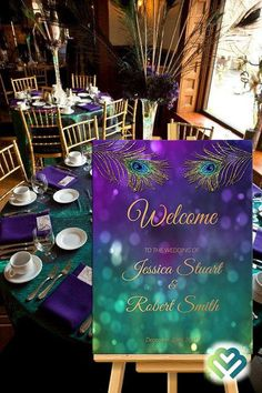 Peacock Wedding Welcome Sign Printable Peacock Purple Gold