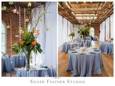 Beautiful coral and blue decor by Fleurtations Weddings and Events, in Raleigh, NC. © Silver Feather Studios, Durham North Carolina Wedding Photography & Videography