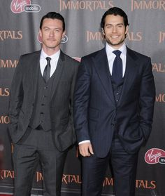 Double Dream Suits, Part II: Luke Evans and Henry Cavill. (Grey for groom)