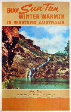 Enjoy Sun-Tan Winter Warmth In Western Australia Posters Australia, Australian Vintage, Vintage Travel Posters, Paper Design, Sun, Winter, Winter Time, Winter Fashion, Solar