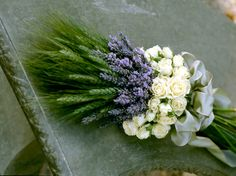 Beautiful green wheat, lavender and white roses arrangement Flower Decorations, Wedding Decorations, Wedding Bouquets, Wedding Flowers, Lavender Bouquet, Funeral Flowers, Partys, Party Centerpieces, White Roses