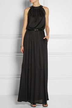 Karl Lagerfeld | Aja faux leather-trimmed modal maxi dress | NET-A-PORTER.COM