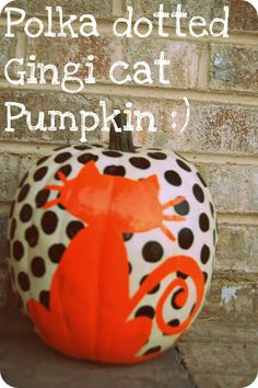 This Halloween pumpkin decorating trick gives you polka dots and a creepy cat on the same pumpkin! Find more pumpkin painting ideas Pumpkin Art, Cat Pumpkin, Pumpkin Crafts, Fall Crafts, Holiday Crafts, Holiday Fun, Pumpkin Ideas, Pumpkin Designs, Pumpkin Carvings
