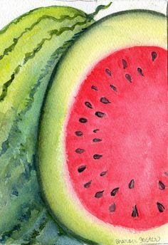 Watermelon Watercolor Painting Fruit Series 5 x by SharonFosterArt, $16.00